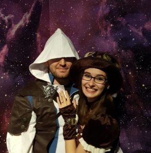 Me as Steampunk Ship Captain for the Franklin Institute's Science After Hours, with my video game assassin!